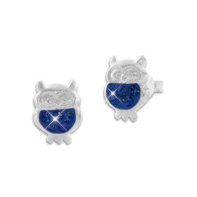 Ohrstecker Eule mit blauem Strass Bauch 925 Silber Schmuck mit Eulen