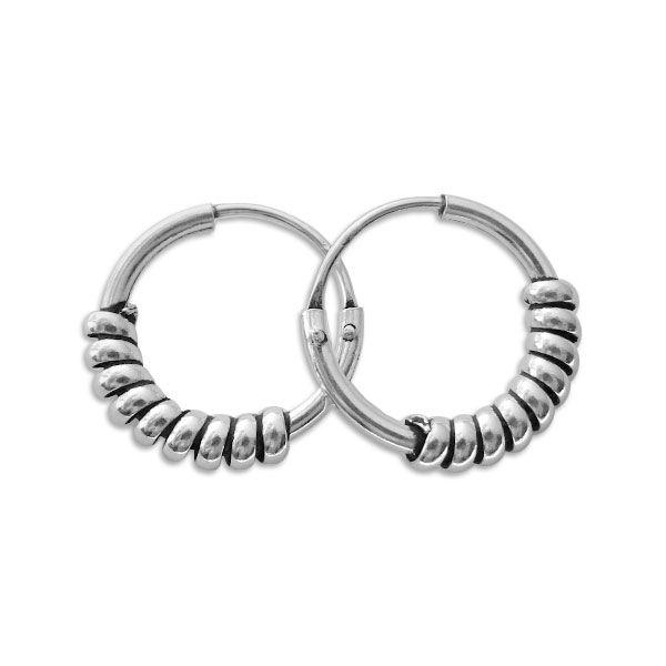 Gedrehte Bali Creolen 925 Silber 12 mm Ohrringe für Damen und Herren