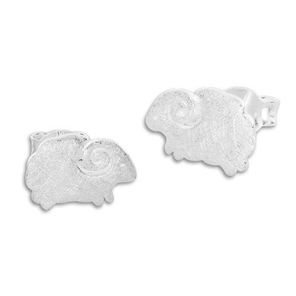Ohrstecker Schafe mattiert gebürstet 925 Silber
