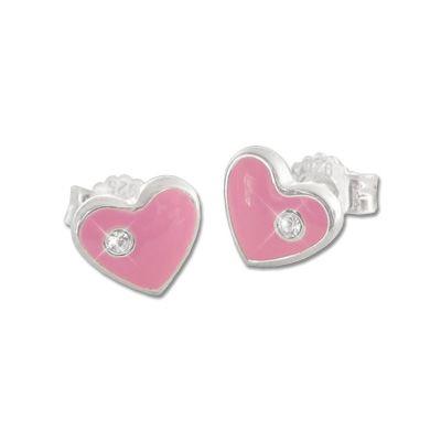 Kinder Ohrstecker Herz rosa mit Strass Stein 925 Silber Mädchen Geschenk