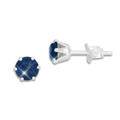 Kristall Ohrstecker dunkelblau metallic rund 5 mm 925 Silber
