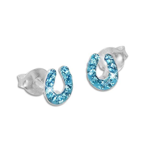 Kinderschmuck Hufeisen Ohrstecker mit hellblauen Kristallen 925 Silber