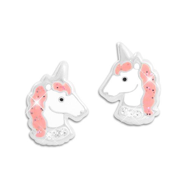 Ohrstecker Einhorn rosa Mähne Strass Steine 925 Silber Kinder Ohrringe