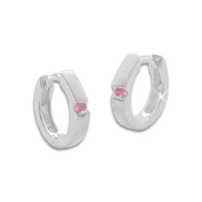 Mattierte Creolen mit rosa Zirkonia Steinen 925 Silber für Mädchen und Damen