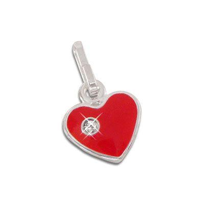 Herz Anhänger rot mit Strass Stein 925 Silber