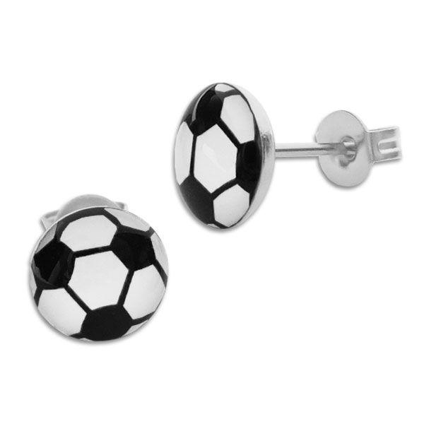Große Fußball Ohrstecker Edelstahl 10 mm Ohrringe mit Fußbällen
