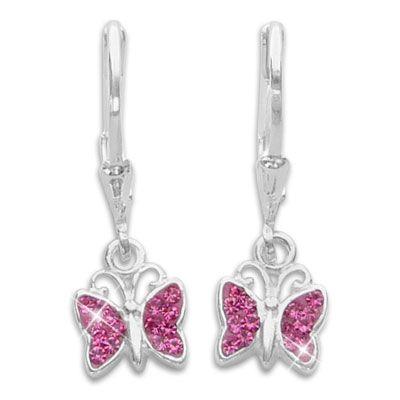 Ohrhänger Schmetterling mit pink Zirkonia 925 Silber