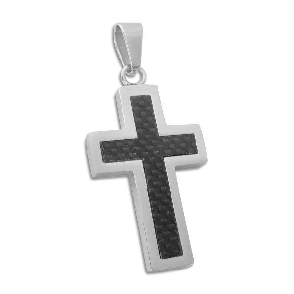Herren Anhänger Edelstahl Kreuz mit Carbon Einlage