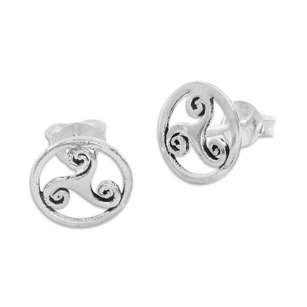 Ohrstecker Triskele im Kreis 925 Silber keltische Ohrringe