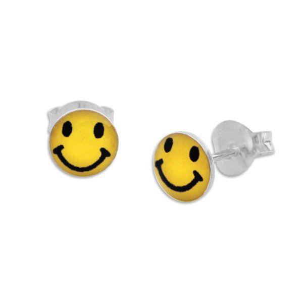 Ohrstecker mit Smile Gesicht 925 Silber für Jungs Mädchen und Damen