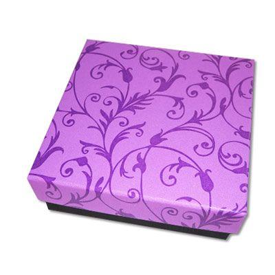Schmuckschachtel florales Design lila 85 x 85 x 22 mm