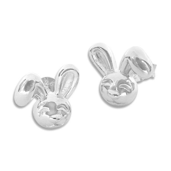 Große 3D Hasenkopf Ohrstecker glänzend 925 Silber Ohrringe Ostern Hase