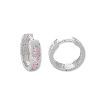 Creolen mit rosa Strass Steinen 925 Silber