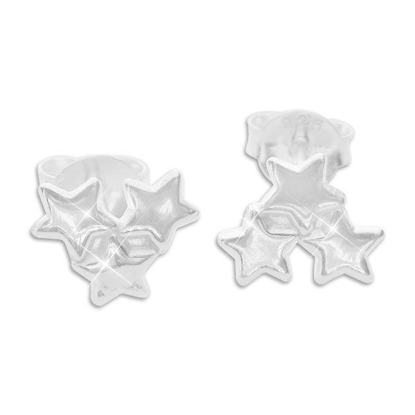 Ohrstecker mit 3 Sternen 925 Silber Stern Ohrringe