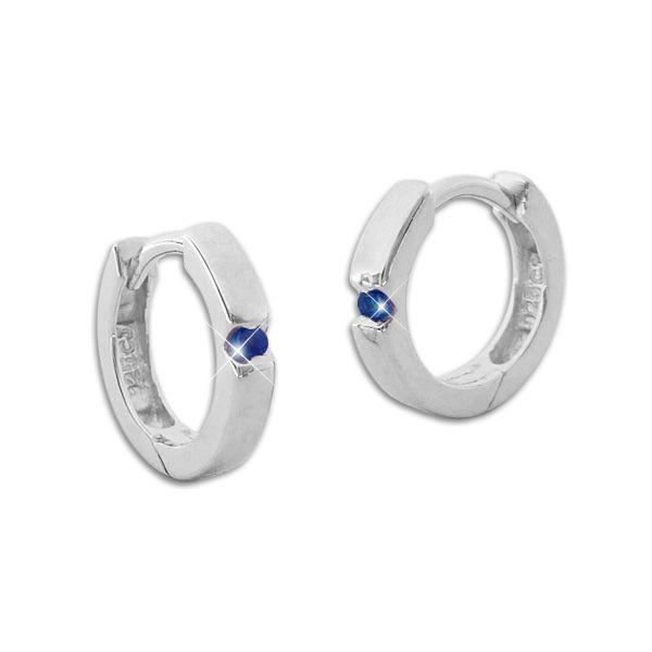 Glänzende Creolen mit safir blauen Zirkonia Steinen 925 Silber