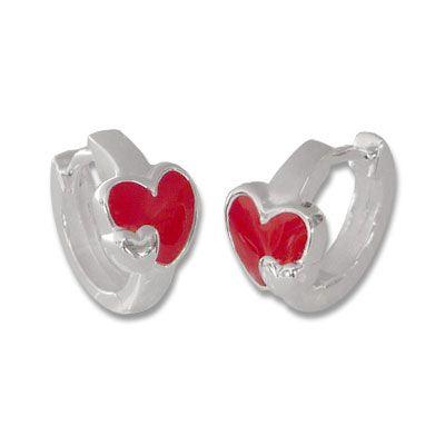 Silber Creolen für Kinder Ohrringe mit Herzen in rot 925 Silber
