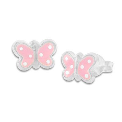Ohrstecker Schmetterlinge rosa mit weißen Punkten 925 Silber Kinderschmuck