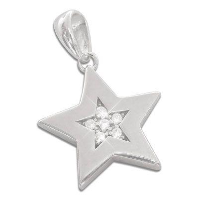 Anhänger Stern mit 6 Zirkonia Steinen 925 Silber