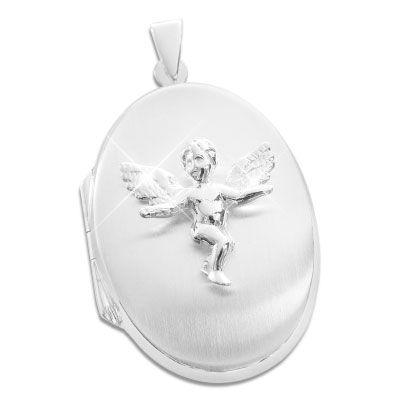 Medaillon oval mit Engel 925 Silber