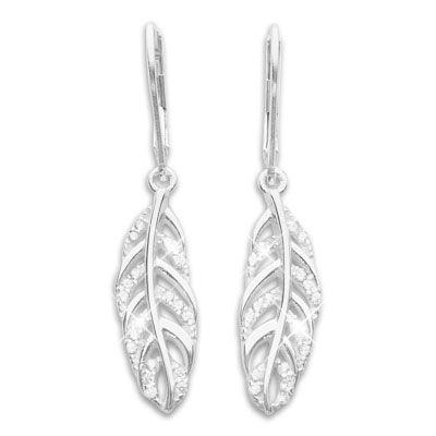 Damen Ohrringe Federn mit Zirkonia 925 Silber