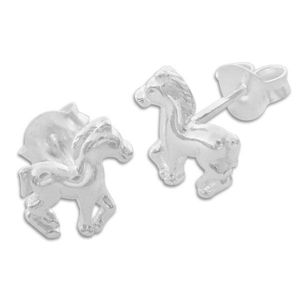 Kinder Ohrringe mit Pferden 925 Silber Ohrstecker Pferd