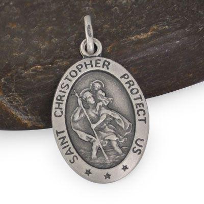 Christophorus Anhänger oval 925 Silber