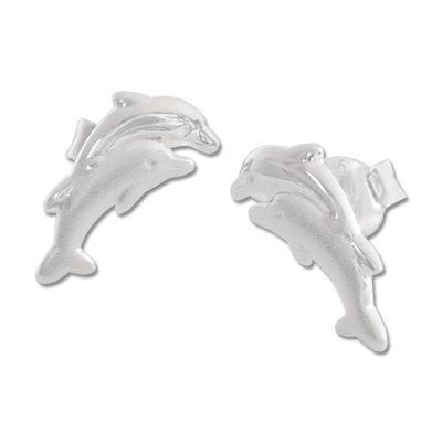 Delphin Paar Ohrstecker matt-glänzend 925 Silber
