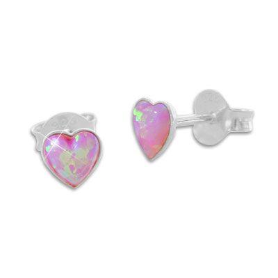 Mädchen Herz Ohrstecker Bubble rosa 925 Silber