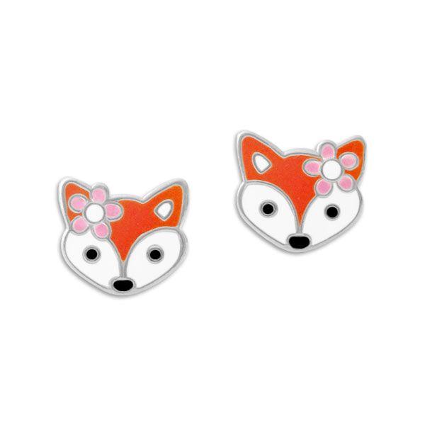 Ohrstecker Fuchs Mädchen mit Blume 925 Silber Ohrringe Kinder