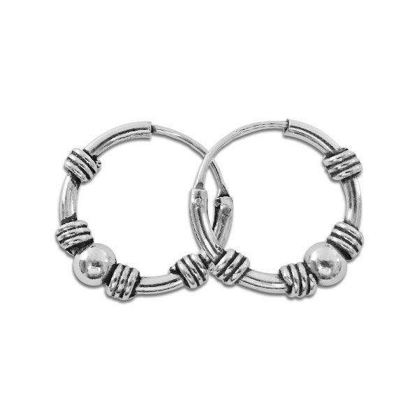 Silber Bali Creolen mit Kugel 925 Silber 12 mm