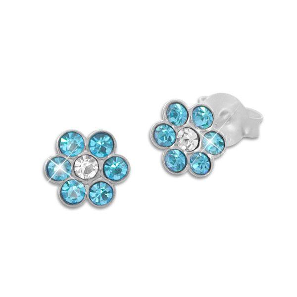 Kinder Ohrstecker Blumen mit hellblauen und weißen Kristallen 925 Silber