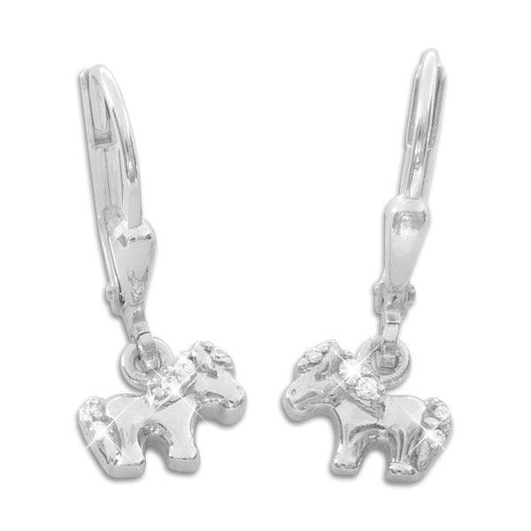Pony Pferde Ohrringe mit Strass 925 Silber