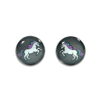 Runde Ohrstecker Einhorn 925 Silber Ohrringe mit Einhörnern