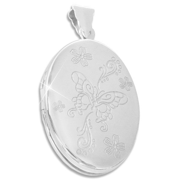 Großes Medaillon mit Schmetterling und Blumen 34 x 24 mm 925 Silber