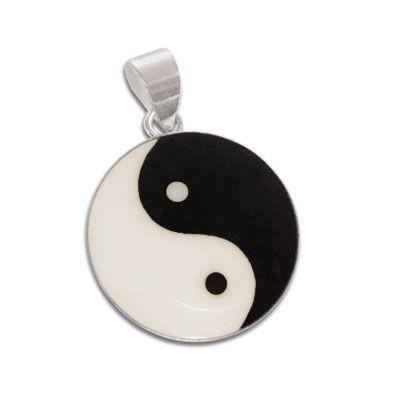 Yin Yang Silberanhänger schwarz-creme 18 mm 925 Silber