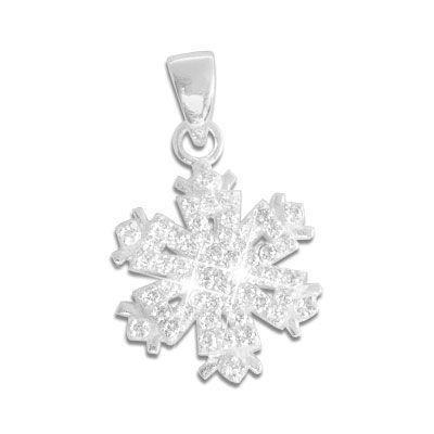 Kettenanhänger Eiskristall mit Strass Steinen 925 Silber