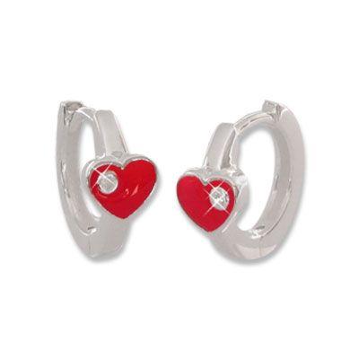 Kinder Creolen mit roten Herzen und Zirkonia 12,5 mm 925 Silber