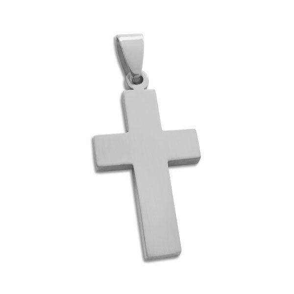 Mattierter Edelstahl Kreuz Anhänger für Herren