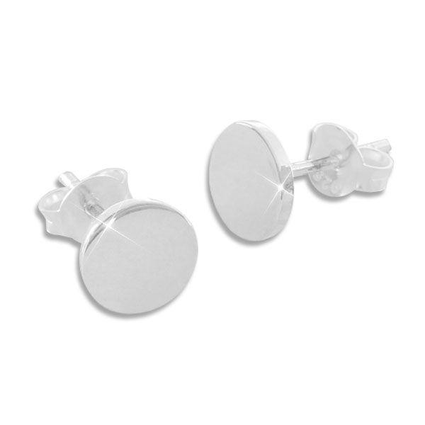 Runde Ohrstecker 8 mm glänzend 925 Silber Ohrringe für Damen und Herren