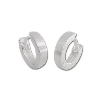 Mini Klapp-Creolen mattiert 925 Silber für Jungs, Männer, Mädchen oder Frauen
