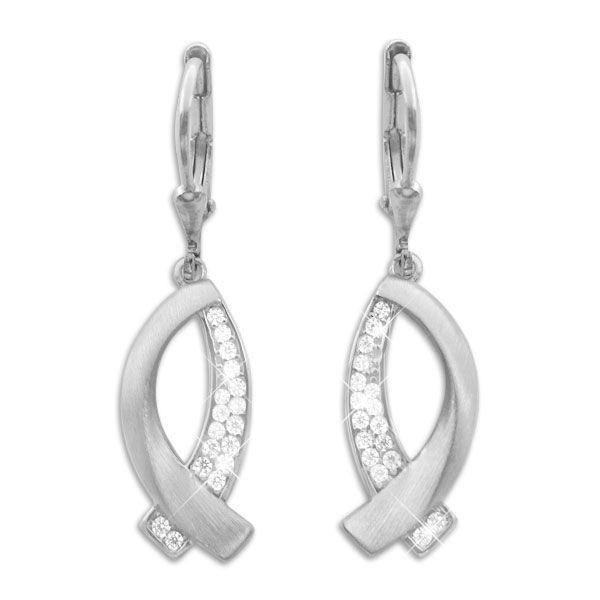 Damen Ohrringe Fisch-Symbol mit Zirkonia matt-glänzend 925 Silber