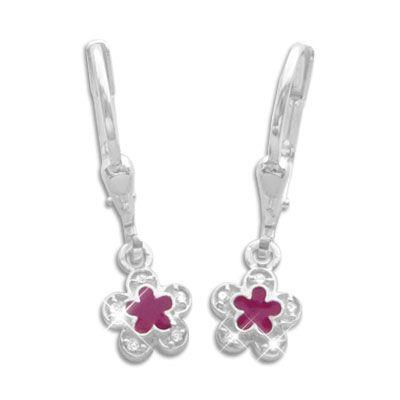 Blumen Kinder Ohrringe pink mit Strass 925 Silber Mädchen Brisur