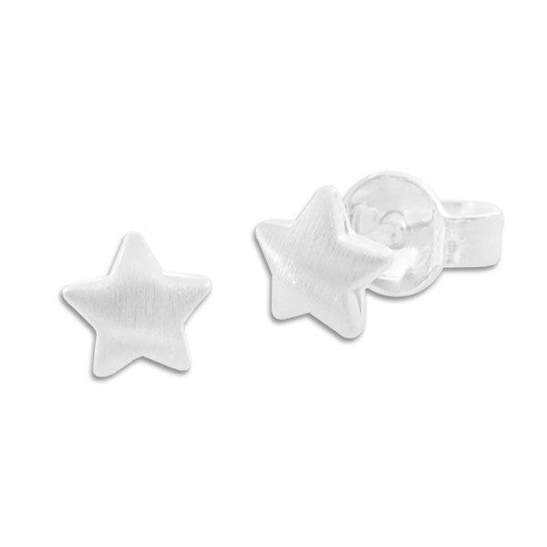 Ohrstecker mit mattierten Sternen 925 Silber Ohrringe
