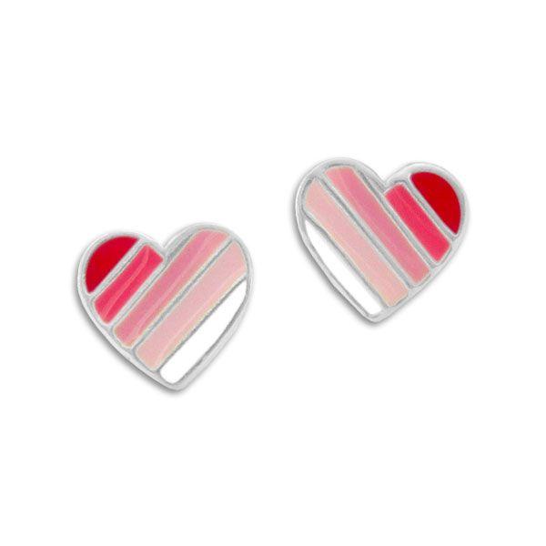 Herz Mädchen Ohrstecker mit Streifen rosa 925 Silber