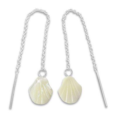 Durchzieher Ohrringe mit Perlmutt Muscheln 925 Silber
