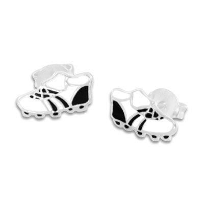 Fußballschuh Ohrstecker lackiert 925 Silber schwarz weiße Ohrringe als Glücksbringer
