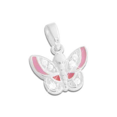 Anhänger für Kinder Schmetterling pink rosa und Strass 925 Silber